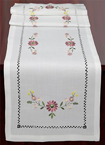 titch Embroidered Daisy Flower Table Runner 15x52 Dresser Scarf White Rectangular ()