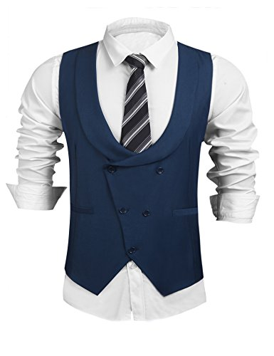 COOFANDY Mens Double Breasted Button Front Waistcoat Formal Suit Vest Business Tapered Vests (Blue S)