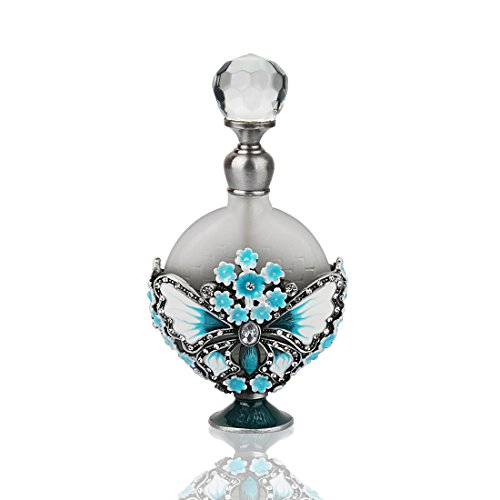 Perfume Elegant Bottle (YUFENG Blue Flower Restoring Ancient Ways Hollow-Out Rattan Flower Heart Shape Perfume Bottles Empty Refillable)