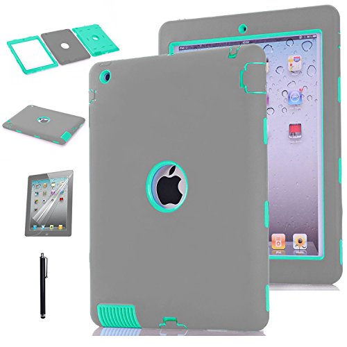 iPad 2 Case,iPad 3 Case,iPad 4 Case,Shock-Absorption / High Impact Resistant Hybrid Three Layer Armor Defender Protective Case Cover with Stylus Pen (Grey/Mint Green)