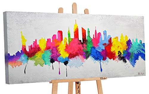 YS-Art | Cuadro Pintado a Mano Buen Humor | Cuadro Moderno acrilico | 115x50 cm | Lienzo Pintado a Mano | Cuadros Dormitories | unico | Multicolor