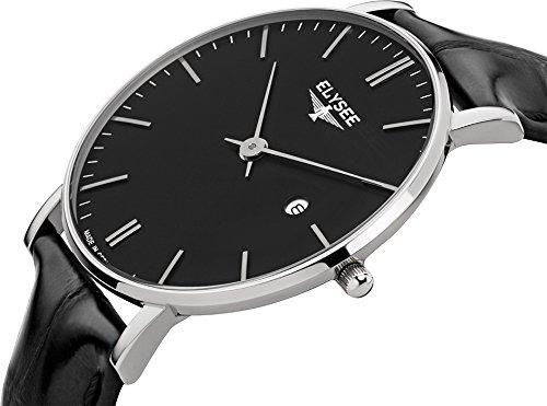 Elysee Zelos reloj del negro para hombre de negra cuero: Amazon.es: Relojes
