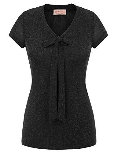 Belle Poque Mesh Sheer Cap Sleeve Sparkle T-Shirt Black Small BP600-1