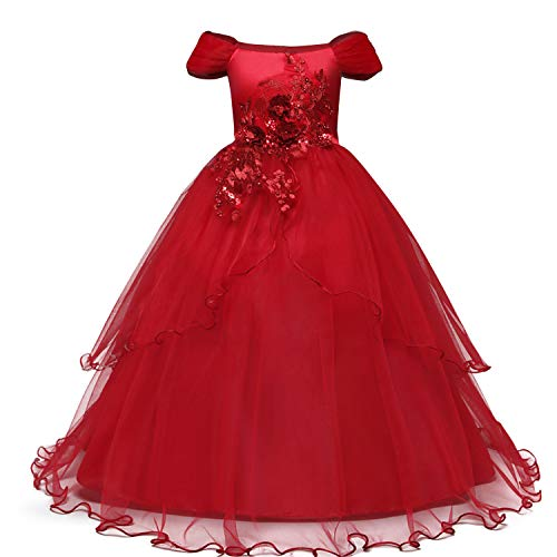 NNJXD Girl Embroidery Strapless Shoulder Lace Princess Pageant Dress Prom Ball Gown Size 7-8 Years Red