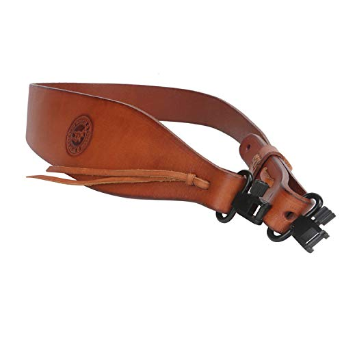 TOURBON Hunting Deluxe Vintage Leather Rifle Gun Sling with Swivels ()