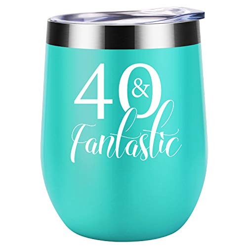 40 and Fantastic - 1979 40th Birthday Gifts for Women - Turning 40 Years Old Birthday Gift For Women, Mom, Wife, Daughter, Sister, Aunt, Best Friends, BFF, Coworker, Her - Coolife 12 oz Wine Tumbler