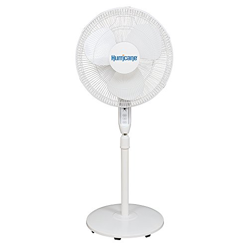 Hurricane Stand Fan - 16 Inch | Supreme Series | Pedestal Fan with Remote Control, 3 Speed Settings, Adjustable Height 41 Inches to 55 Inches - ETL Listed, White (736545)