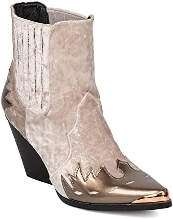 Cape Robbin Women Mixed Media Pointy Toe Flame Pattern Cowboy Bootie