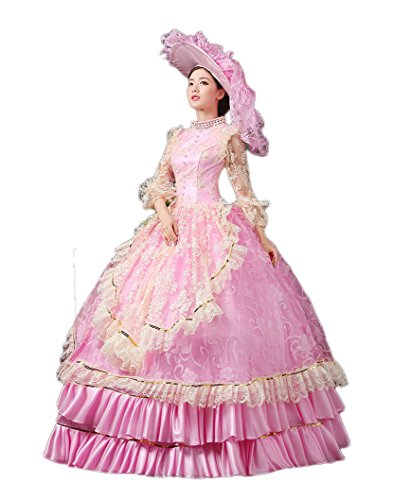 Zukzi Women's Ruffles Gothic Victorian Fancy Lolita Dress Costumes, Pink Size 8 by Zukzi