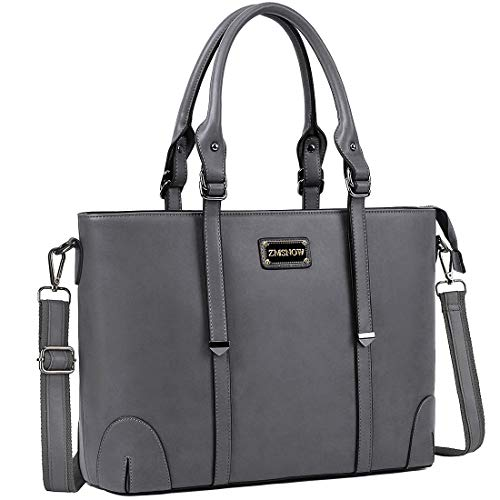 ZMSnow Laptop Bag,Work Tote Bag Fits Up to 15.6 Inch Laptop Tablet for Women Business Travel (Grey)