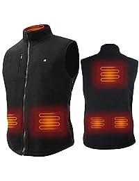 ARRIS Electric Heated Vest Size Adjustable 5V USB Fleece Warm Vest for Outdoor Camping Hiking (No Battery) Black