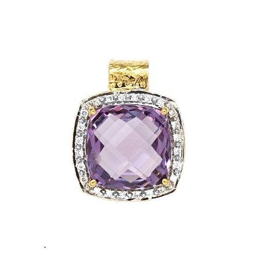 .12 Dwt 18 carats Diamant Or Jaune-Pendentif-Amethyste JewelryWeb