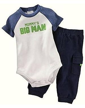 Carter's Baby Boy's Size Newborn MOMMY'S BIG MAN Bodysuit, Pants Set