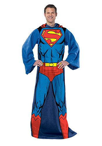 "DC Comics Superman, ""Action Superman"" Adult Comfy Throw Blanket with Sleeves, 48"" x 71"", Multi Color"
