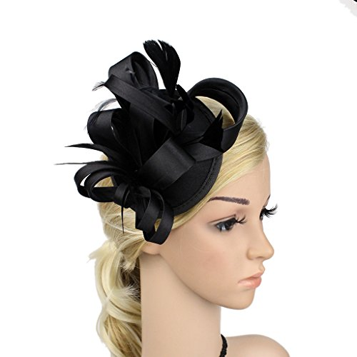 ChezAbbey Women's Feather Pillbox Hat Flower Derby Hat Fascinator Hair Clip Hat Wedding Cocktail Tea - Standard Usps Delivery Time