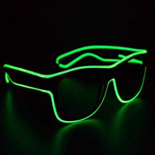 Green Light Up EL Wire Eyeglasses