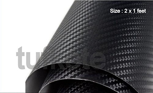 Tufkote Vinyl Film Decal 3D carbon Fiber Twill-Weave Matte Design, Size 24 X 12 Inches (Black)