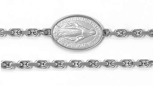 - Miraculous Medal Bracelet with Rhodium Plating - Sterling Silver French