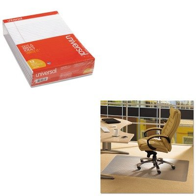 KITFLRPF1115225EVUNV20630 - Value Kit - Floortex Cleartex Advantagemat Phthalate Free PVC Chair Mat for Low Pile Carpet (FLRPF1115225EV) and Universal Perforated Edge Writing Pad (UNV20630) by Floortex
