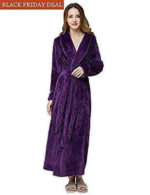AMONIDA Fleece Bathrobe for Women Long Robes Soft Pajamas