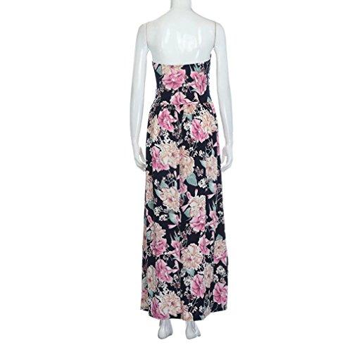 Damen Kleider,LMMVP Frauen Sommer Blumen Maxi Bandeau Urlaub Langes Kleid  (M, Multicolor)  Amazon.de  Musikinstrumente 0fb9494dc2