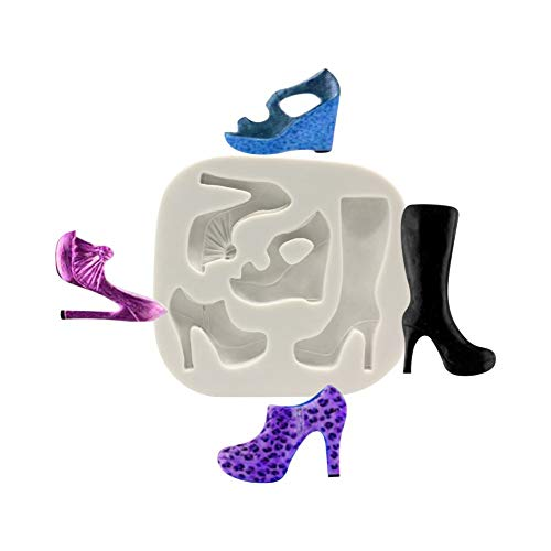 Anyana mini High-heeled Shoes Baking Molds Boots Silicone Fondant molds sandal Cake Decorating Tools Gumpaste cupcake topper decorations resin Clay Chocolate Candy Molds Non stick easy to use (Boot Cake Mold)