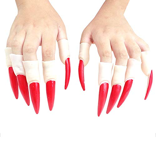 Sunnylela 10pcs/Set Witch Fake Fingers Nail Set Halloween Masquerade Finger Nails Trick Props for Cosplay Costume Party Red