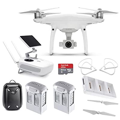 DJI Phantom 4 Pro+ Quadcopter Drone with 5.5in FHD Screen Remote Controller - Bundle with 64GB MicroSDHC Card, 2x Spare Batteries, DJI Charging Hub, Propeller Guard, Quick-Release Propellers, Backpack