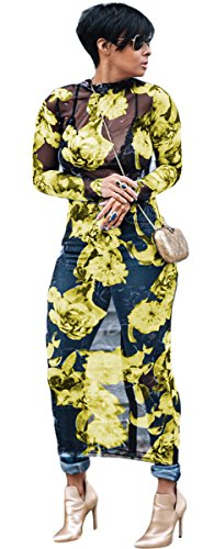 Recious Womens Sexy Long Sleeve Turtleneck Floral Printed See-Through Bodycon Party Clubwear Dress (XXL, Yellow) ()