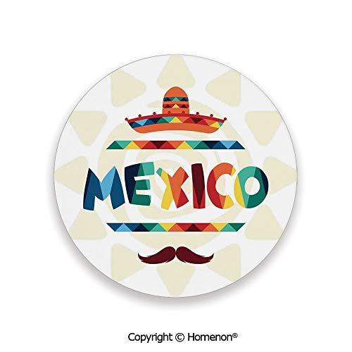 Mexico Traditional Aztec Motifs and Sombrero Straw Hat Moustache Graphic,Hot Sale Coasters Protection From Drink Multi,3.9×0.2inches(8PCS),Prevent Furniture From Dirty Scratched (Commercial Outdoor Melbourne Furniture)