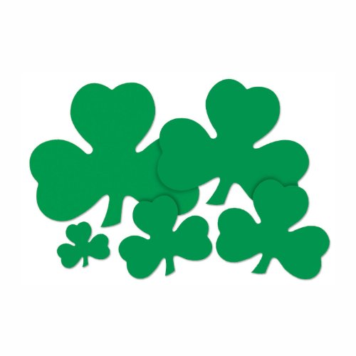 Beistle 33760-12 36-Pack Decorative Printed Shamrock Cutouts, 12-Inch]()