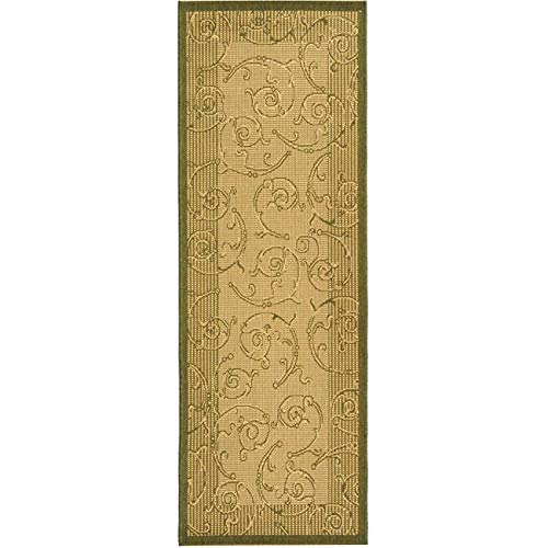 Courtyard Cy2665 Natural - Courtyard Rug CY2665 Natural Olive 2ft x 9ft