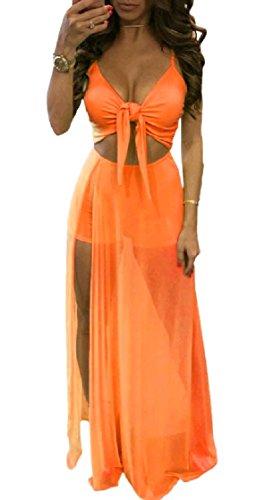 Coolred-femmes Maille Fronde Sexy Fendue Évider Robe De Soirée Maxi Patchwork D'orange