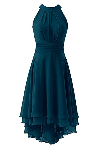 Dress Homecoming Teal (Kevins Bridal Women's High Low Short Bridesmaid Dresses Chiffon Halter Prom Dress Teal Size 14)