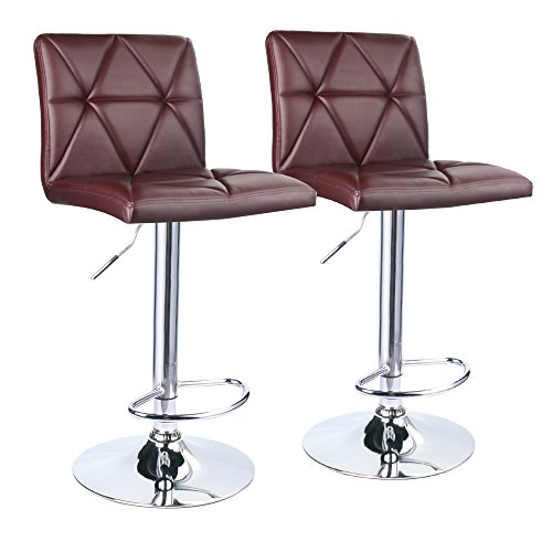 Leader Accessories Bar Stool,Brown Hydraulic Square Back Diagonal Line Adjustable Bar Stools,Set of 2
