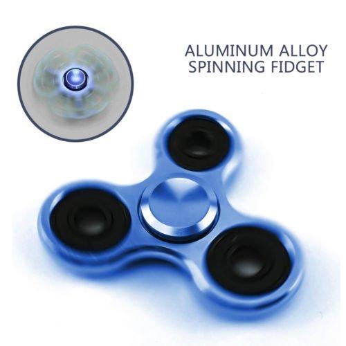 BLUE-STAINLESS METAL HAND SPINNER FIDGET CERAMIC HYBRID BEARING DESK 6 MIN SPIN (Things That Start With J For Kids)