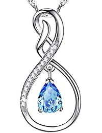 "Birthday Gifts for Women ""Infinity Endless Love"" Aquamarine Birthtone Necklace Sterling Silver Swarovski Jewelry"