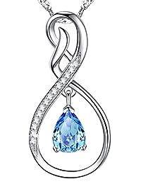 Valentines Day Jewelry Blue Swarovski Necklace Sterling Silver Birthday Gift for Women