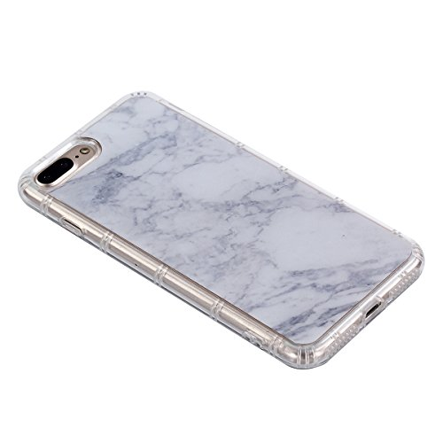 UKCOCO Phone Case Marble iPhone 7Plus 8Plus Ultra delgado Slim, funda protectora de TPU Dual Layer (Verde) Blanco
