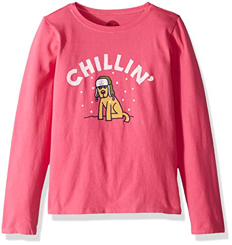 Life is Good Girls Crusher Longsleeve Tee Chillin' Rocket Athletic T Shirts, Fiesta Pink, Small