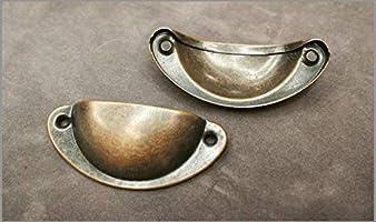 Bronce Pomos Retro Metal Muebles Cocina Armario Caj/ón con Tornillos 10 piezas Tiradores Concha Vintage Mango de Muebles Bot/ón,98mm