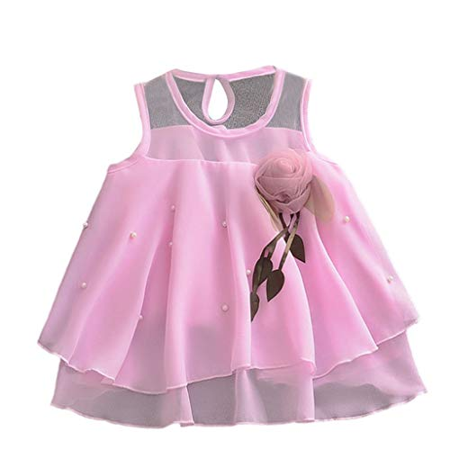 TEVEQ Toddler Baby Girls Sleeveless Solid Tulle Skirt Flowers Party Princess Dresses Purple ()