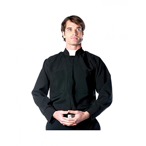 [Underwraps Costumes Men's Priest Costume - Long Sleeve Shirt, Black/White, XX-Large] (Priest Halloween Costume Deluxe)