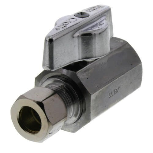"""1/2"""" FIP x 3/8"""" OD Compression 1/4-Turn Straight Ball Stop Valve, Lead Free (Chrome)"""