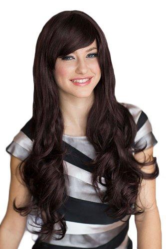 Annabelle de las pelucas Extra larga de color negro de mujer con vestido plateado con cuidado