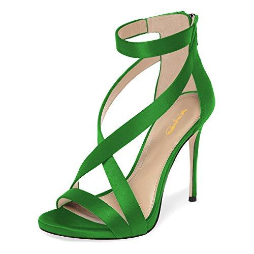 XYD Womens Criss Cross Ankle Strap Sandals Open Toe Stilettos High Heels Back Zipper Bridal Wedding Party Shoes Size 6 Lime (Criss Cross Sandal Pump)