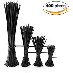 """Cable Zip Ties 4""""+6""""+8""""+12"""" Self Locking Nylon Cable Wire Tie Black for Home Office Garden Garage, workshop"""