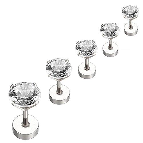 Nicever Stainless Steel Cubic Zirconia Stud Earrings Helix Cartilage Earrings Flat Back 3-7mm 5 Pairs Steel ()