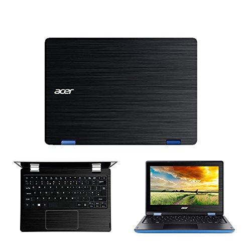 Black Brushed Aluminum skin decal wrap skin case for Acer Aspire R3-131T R 11 11.6