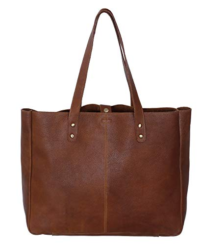 (KomalC Genuine Soft Chicago Buff Leather Tote Bag Elegant Shopper Shoulder BagSALE)